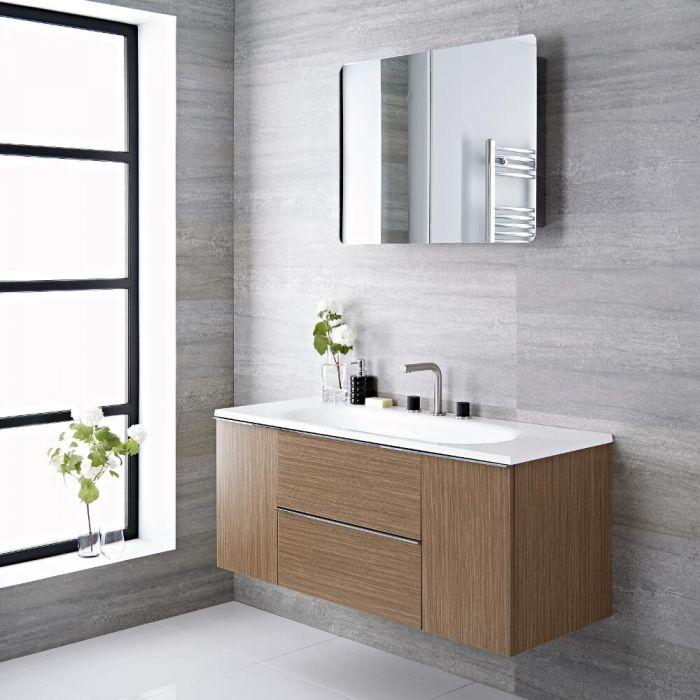 Mueble de Lavabo Suspendido con Acabado Color Blanco Lacado 1200x480x520mm con Lavabo Integrado