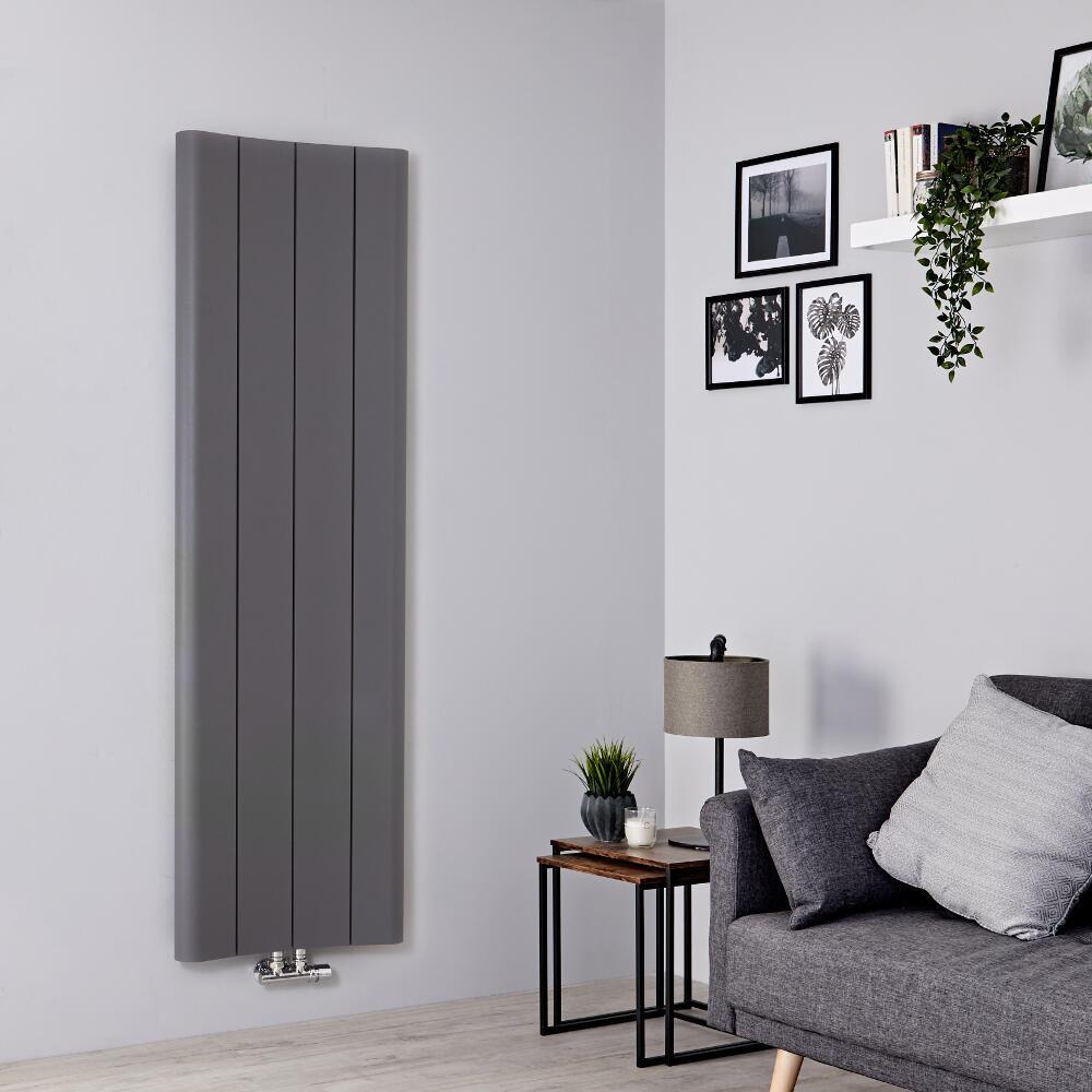 Radiador de Diseño Vertical - Aluminio - Gris Claro - 1600mm x 495mm - 1068 Vatios - Aloa