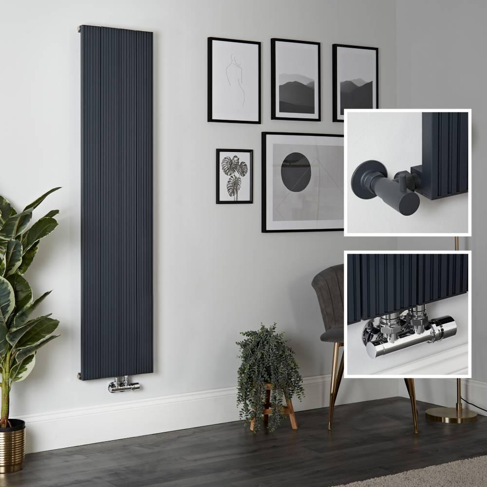Radiador de Diseño Vertical en Aluminio de Color Antracita - 1600mm x 375mm - Lex