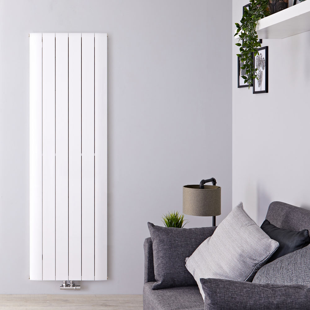 Radiador de Diseño Vertical Con Conexión Central - Aluminio - Blanco - 1600mm x 565mm x 45mm - 1840 Vatios - Aurora