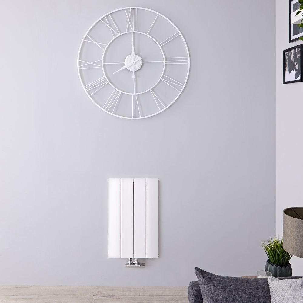 Radiador de Diseño Horizontal Con Conexión Central - Aluminio - Blanco - 600mm x 375mm x 46mm - 512 Vatios - Aurora
