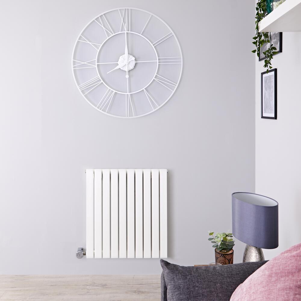 Radiador de Diseño Eléctrico Horizontal - Blanco - 635mm x 600mm x 54mm -  Elemento Termostático de 800W  - Sloane